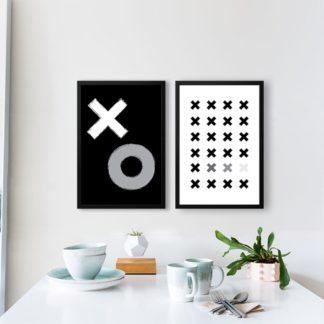 Bộ 2 tranh khung kính treo tường X&O