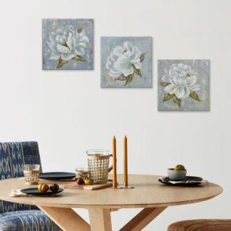 Bộ 3 tranh canvas treo tường Hoa Trắng 30x30 cm/tranh