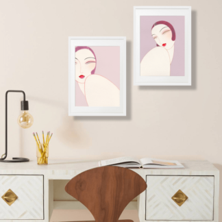 Bộ 2 tranh khung kính treo tường Twins