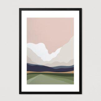 Tranh khung kính treo tường tối giản minimalist Mây Núi