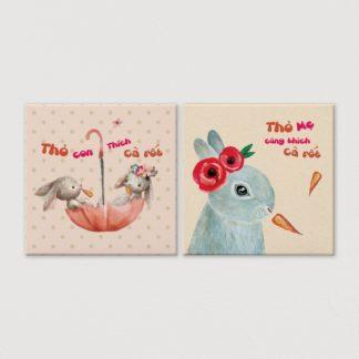 Bộ 2 tranh canvas treo tường Thỏ Ăn Cà Rốt 50x50 cm/tranh
