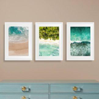 Bộ 3 tranh khung kính treo tường Sóng Biển