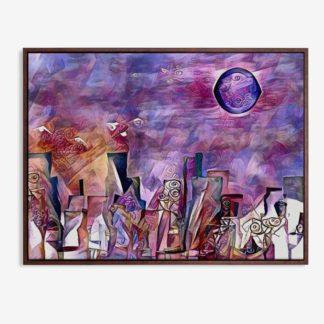 Abstract city - Tranh canvas trừu tượng treo tường 50x70 cm
