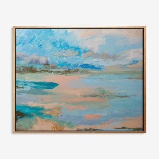 Hồ xanh - Tranh canvas trừu tượng treo tường 50x70 cm