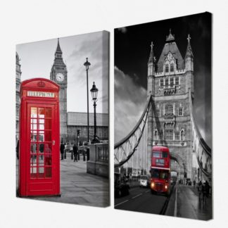 Bộ 2 tranh canvas treo tường Luân Đôn 50x70 cm/tranh