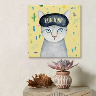 Mèo Bonjour - Tranh canvas treo tường 50x50 cm
