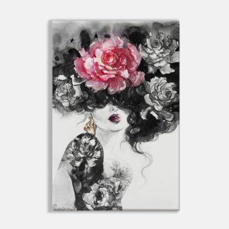 Bộ 3 tranh Canvas treo tường cô gái cài hoa 40x60 cm/tranh