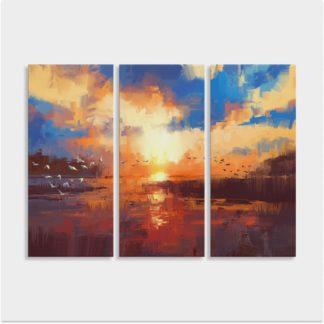 Bộ 3 tranh Canvas treo tường Hoàng Hôn 90x120cm