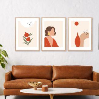 Bộ 3 tranh khung kính treo tường tối giản minimalist Ngày Nắng