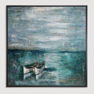 Đôi Thuyền - Tranh vẽ sơn dầu 100x100 cm
