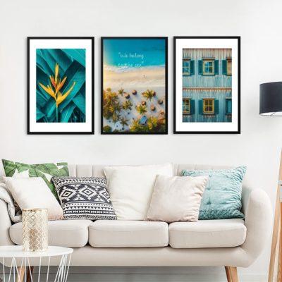 Bộ 3 tranh khung kính treo tường phong cảnh thiên nhiên Vào Hạ