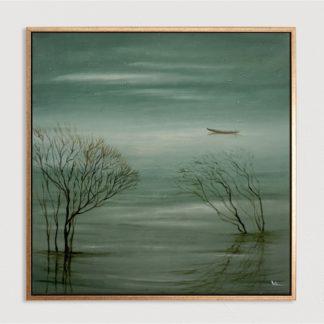 Sông Chiều - Tranh vẽ sơn dầu  80x80 cm