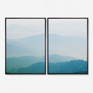 Bộ 2 tranh canvas phong cảnh Núi trong sương 50x70 cm