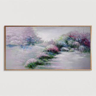 Vườn Xuân - Tranh vẽ sơn dầu 70x140 cm