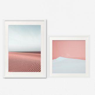 Bộ 2 tranh khung kính treo tường Pink Desert