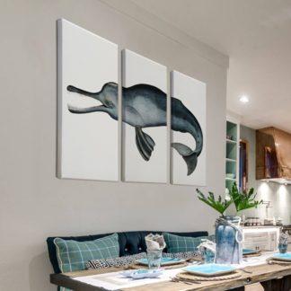 Bộ 3 tranh canvas cá Heo Delphinus capensis 40x80 cm/tranh