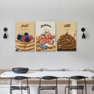 Bộ 3 tranh canvas Ice cream cake 40x60 cm/ tranh