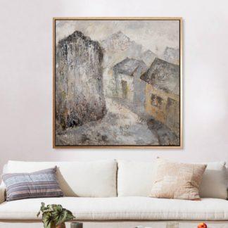 Quanh co phố - Tranh vẽ sơn dầu 100x100 cm