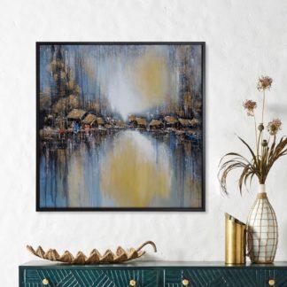 Sông Phố- Tranh vẽ sơn dầu 100x100 cm