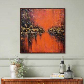 Phố Bên Sông - Tranh vẽ sơn dầu 100x100 cm