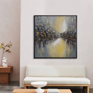 Phố và sông - Tranh vẽ sơn dầu 100x100 cm
