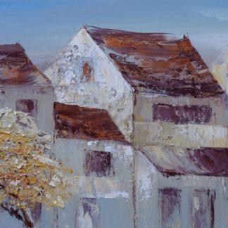 Phố soi bóng - Tranh vẽ sơn dầu 80x100 cm