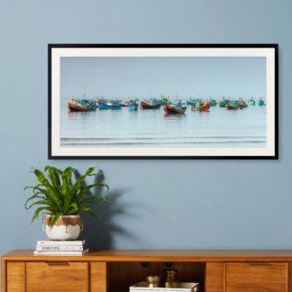 Biển Sớm Tranh khung kính treo tường 50x100 cm