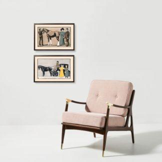 Bộ 2 tranh khung kính treo tường Carriage 40x60 cm/tranh