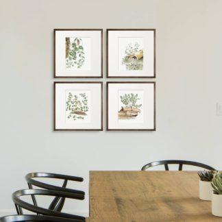 Bộ 4 tranh khung kính treo tường Small leaves 37x37 cm/tranh