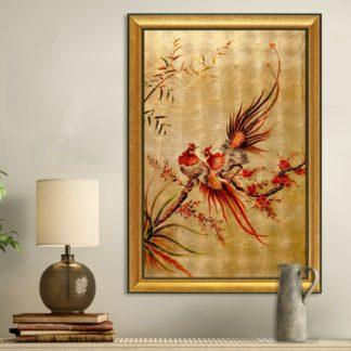 tranh quà tặng sơn mài dát vàng kim kê đắc lộc