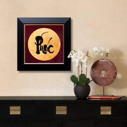 tranh quà tặng sơn mài dát vàng thư pháp chữ phúc