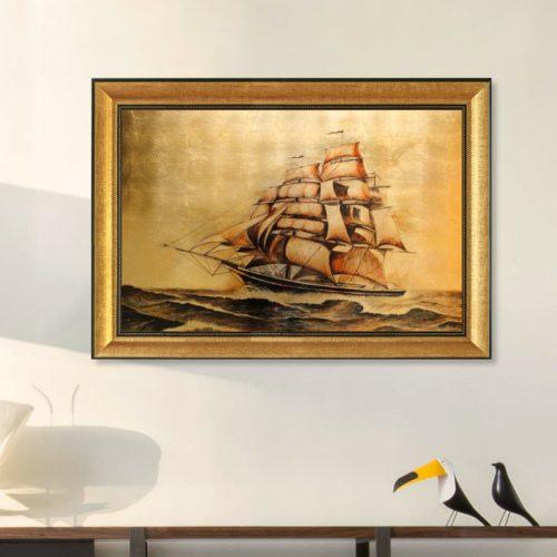 tranh quà tặng sơn mài dát vàng thuận buồm xuôi gió