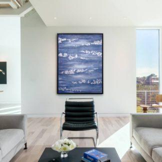 Silver Sea - Tranh ánh kim sơn dầu treo tường 80x120 cm