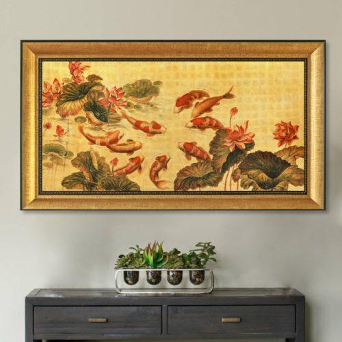 tranh quà tặng sơn mài dát vàng cửu ngư quần hội 64x114