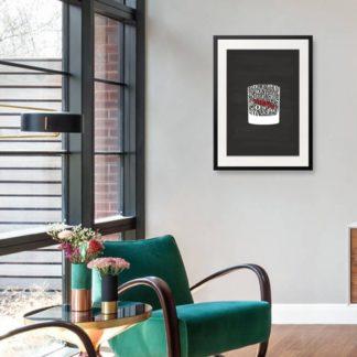 Whiskey Glass - Tranh khung kính treo tường B&W