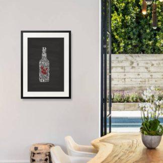 Whiskey Bottle 1 - Tranh khung kính treo tường B&W