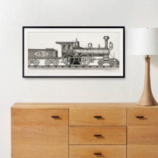 Railroad engine - Tranh khung kính treo tường B&W