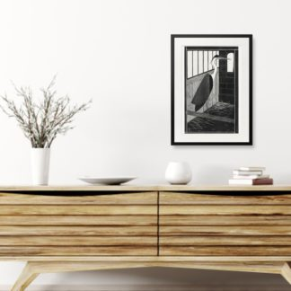 Giant heron - Tranh khung kính treo tường B&W