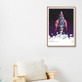 Poster Retro Rocket treo tường