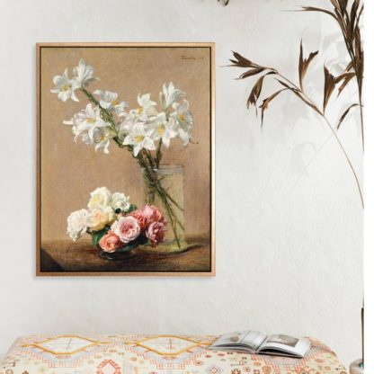 Roses and lilies - Tranh canvas treo tường danh hoạ