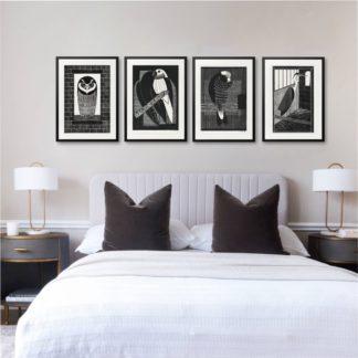 Bộ 4 tranh động vật Trắng đen  - Tranh khung kính treo tường B&W