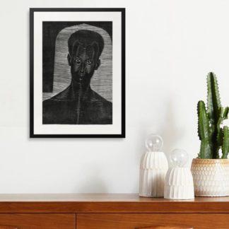 Portret van onbekende man - Tranh khung kính treo tường B&W