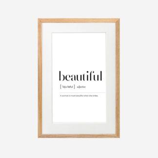 Beautiful - Tranh khung kính treo tường 21x30cm
