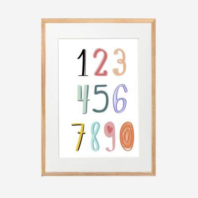 Numbers - Tranh khung kính gỗ sồi treo tường 30x42cm