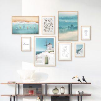 Blue Summer - Bộ 8 tranh khung kính treo tường gỗ sồi