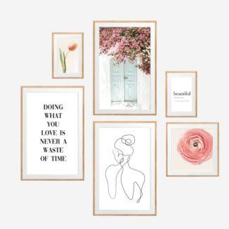 Romantic Pink 2 - Bộ 6 tranh khung kính treo tường