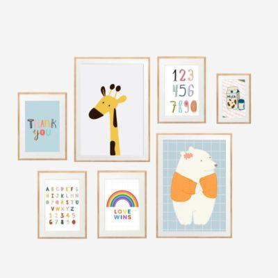 Colorful Childhood - Bộ 7 tranh khung kính gỗ sồi treo tường