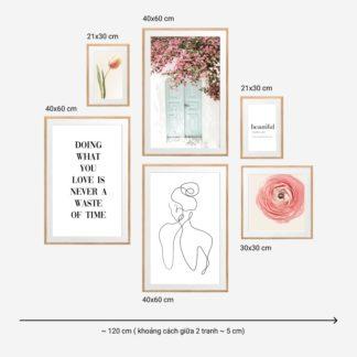 Romantic Pink 2 - Bộ 6 tranh khung kính gỗ sồi treo tường