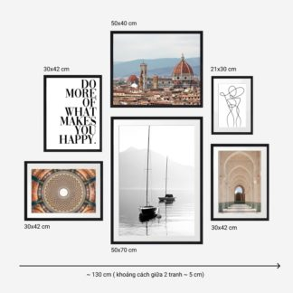 Spectacular Architecture - Bộ 6 tranh khung kính gỗ sồi