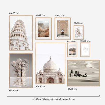 Beautiful In White - Bộ 9 tranh khung kính gỗ sồi treo tường